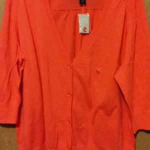 Lane Bryant Size 26/28W Orange/Melon 3/4 Sleeve